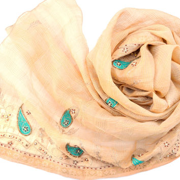 Ivory Scarf, Turquoise Paisley Indian Shawl Woven Gold Beaded Embroidered Wedding Wrap, Long Tan Beige Off White Eggshell Silk Cotton Blend