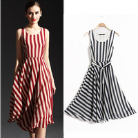 Striped Sleeveless Chiffon High Waist A-Line Pleated Midi Dress
