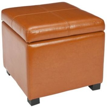 Broadway Saddle Leather Storage Ottoman | Overstock.com