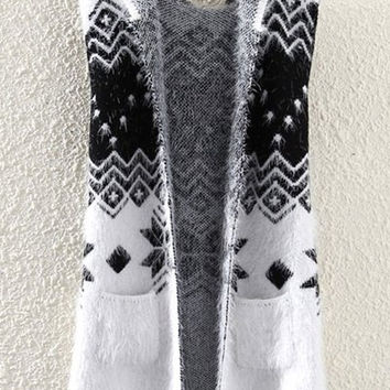 White Snowflake Pattern Knitted Hooded Waistcoat