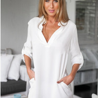 Solid Long Sleeve Casual T-Shirt Dress