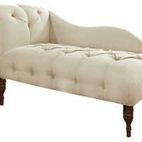 Francis Single-Arm Tufted Chaise, Talc, Chaise Longues