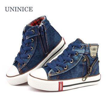 2017 Spring children casual shoes boys girls sport shoes boys sneakers brand kids shoes girl denim canvas child flat boots 25-37