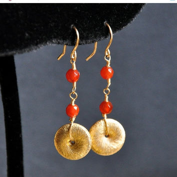 CIJ Red Carnelian Earring, Cornelian Gemstone Earrings, Gold Fill Dainty Beads Dangle Earrings, Wire Wrap Gemstones, Vermeil Disc Jewelry