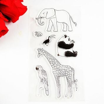 Zoo Elephant Panda Giraffe Eco Friendly Transparent Stamp For D