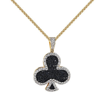 "Playing Cards Club Pendant 14k Gold Tone Black Iced Out Lab Diamond 24"" Chain Custom"