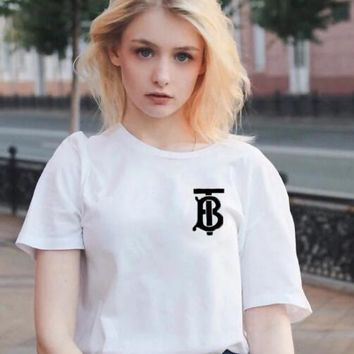 BURBERRY Fashion Couple Casual Letter Print Round Collar T-Shirt Top Tee White