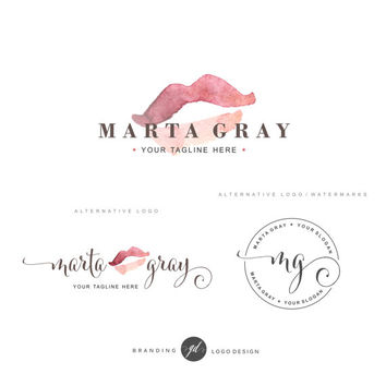 Cosmetic logo design, Lips logo, Premade Branding Kit, Photography logo, Blog logo, Make up kit, Watermark, kiss logo, Logo Design, Stamp 61