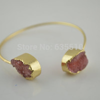 1 pc Unique Red Druzy Geode Agate Stone Nugget Gold Wire Bangle Bracelets Fashion woman jewelry Gift