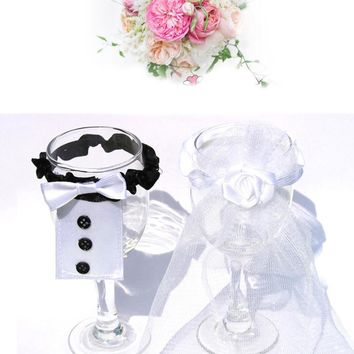 2 pcs/lot Bride Bridegroom Lead Crystal Wedding Decoration Flutes