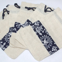 Chinese linen and blue fabric bags 5 bags