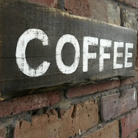 Reclaimed wood sign - COFFEE - hand painted wall hanging