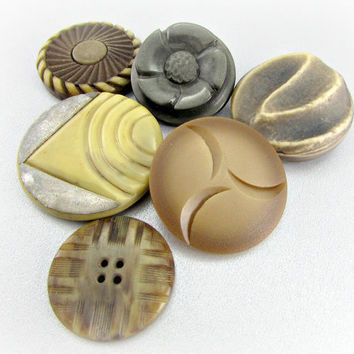 Antique Art Deco Button Lot, Brown Cream Buttons, Carved Casein Celluloid Plastic Button, Extra Large Buttons, Bulk Sewing Craft Buttons