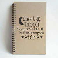 Shoot for the moon, Land among the stars, 5x8 writing journal, custom spiral notebook, personalized kraft memory book, small sketchbook