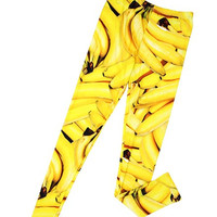Fruit Printed One Size Leggings-Bananas
