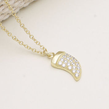 925 sterling silver gold vermeil plated pave cubic zirconia  horn necklace