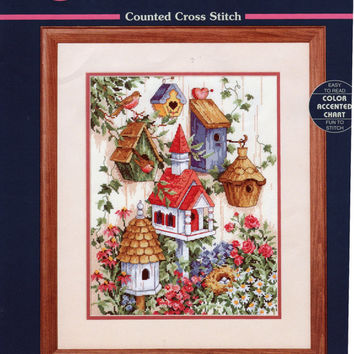 Birdhouse Garden by Ann Craig, Sunset Counted Cross Stitch Embroidery Kit