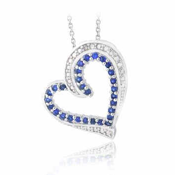 Lab Created Sappire & Diamond Accent Floating Heart Necklace, 18""