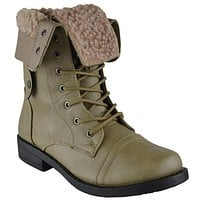 Womens Cuffed Combat Ankle Boots Taupe