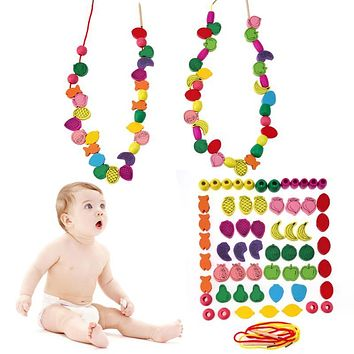 60pcs/lot Wooden Fruit Animal Number Stringing Threading Beads Game Baby Necklace Pendant Kids Early Educational Learning Toys