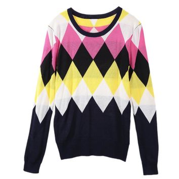 Stylish Scoop Neck Argyle Long Sleeve  Sweater For Women