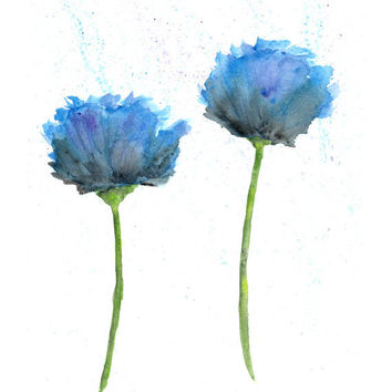 Watercolor flower painting, watercolor poppies print, poppy flower art - 8X10