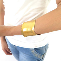 Gold Formed Cuff, brass S curve armband, artisan wide cuff bracelet