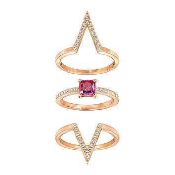 Swarovski Color Crystal FUNK Set of 3 Rings Rose Gold & Red Crystal Ring Set