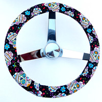 Black Folkloric Sugar Skull Day of the Dead Steering Wheel Cover