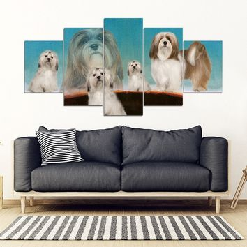 Lhasa Apso Dog Print-5 Piece Framed Canvas- Free Shipping