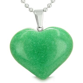 Amulet Large Puffy Heart Lucky Charm in Green Jade Gemstone Good Luck Powers Pendant Necklace