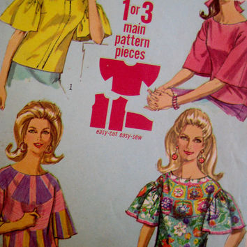 Vintage 1967 Simplicity Pattern Blouse Top Round Neck Kimono Bell Ruffle Sleeve Hippie Boho Festival 7028 Size 12 Partially Cut Complete