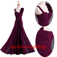 Chiffon A-Line Long Floor-Length Formal Bridesmaid Dresses Prom Dresses Evening Dresses Party Dresses Plus Size
