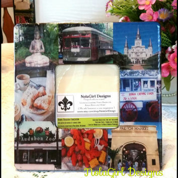 New Orleans inspired Picture Frame, Any town or image, Memory picture Frame, Custom Photo Frame, City Landmarks, Custom images , epoxy seal