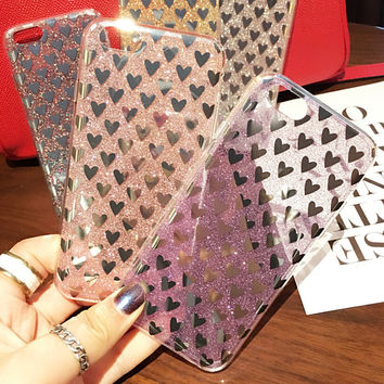 Hot Shining Heart-shaped Case for iPhone 7 7Plus & iPhone se 5s 6 6 Plus Best Protection Cover +Gift Box-534