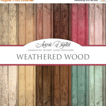 50% OFF Weathered Wood Digital Paper. Scrapbooking Backgrounds, worn, distressed, patterns for Commercial Use. wood texture. Instant Downloa