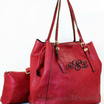 Monogrammed Dark Red Hobo Handbag - 2 in 1 Bag - Personalized Convertible Purse - Monogrammed Crossbody Pocketbook - Monogram Tote