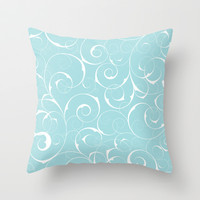 White wirls on blue Throw Pillow by EML - CircusValley
