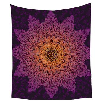 Bohemian Flower Tapestry Gradient Purple Mandala Wall Carpet  130x150 150x200