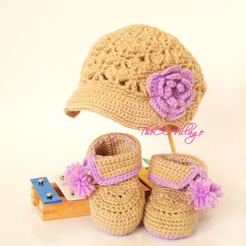 Crochet baby girl booties and hat set, Beige purple Crochet Baby Shoes and hat with flower