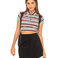 Asha Cropped Polo Top in School Stripe by Motel