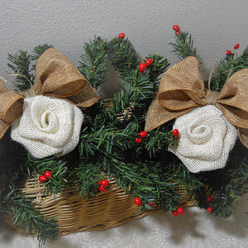 Ready to Ship! Set of 2 White Burlap Rose Bow Christmas Ornaments handmade of burlap and twine. Will ship priority mail within 24 hours!