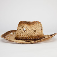 Open Weave Womens Straw Cowboy Hat Natural One Size For Women 23554342301