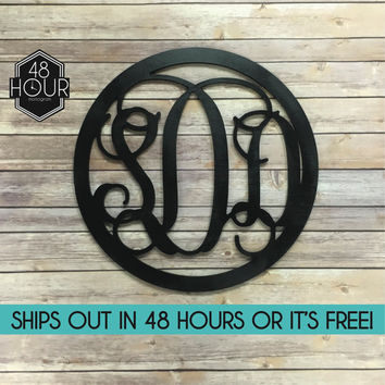 """FAST! 24"""" 3 Letter Circle  Wooden Monogram - PAINTED - Large Wooden Monogram SALE monogram decoration personalized custom wall hanging gifts"""