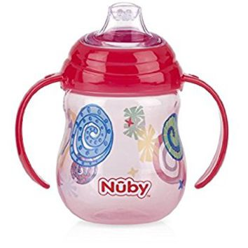 Nuby Designer Series No-Spill Clik-It Grip n' Sip Soft Flex Spout Cup, 9 ounce,Red