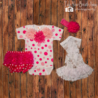 Infant Take Home Outfit, Newborn Outfit, Polka-dot Onesuit, baby girl Onesuit, New Baby Gift, pink and white lace, Bloomers Set,