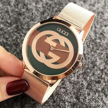 GUCCI Popular Women Men Movement Quartz Watches Wrist Watch Rose Golden