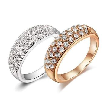 18K Gold Pave Austrian Crystals Band Cocktail Ring - Choose Your Color