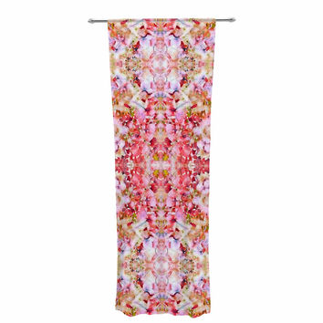 "Carolyn Greifeld ""Floral Reflections"" Pink Red Decorative Sheer Curtain"