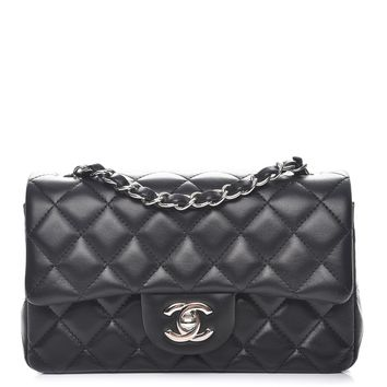 CHANEL Lambskin Quilted Mini Rectangular Flap Black